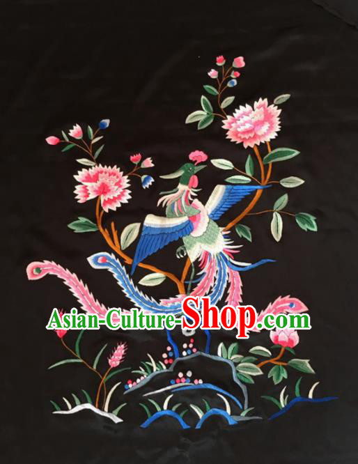 Chinese Traditional Handmade Embroidery Craft Embroidered Phoenix Peony Cloth Patches Embroidering Silk Piece