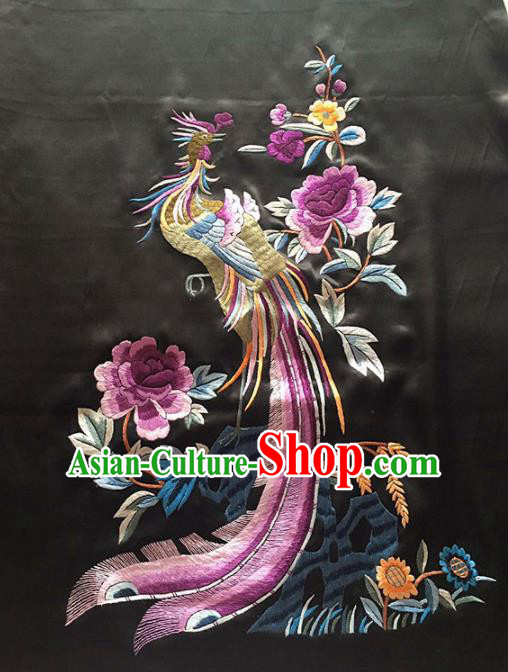 Chinese Traditional Embroidered Phoenix Peony Black Silk Patches Handmade Embroidery Craft Cloth Fabric