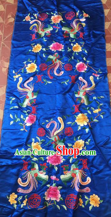 Chinese Traditional Handmade Embroidery Craft Embroidered Royalblue Cloth Patches Embroidering Phoenix Peony Silk Piece