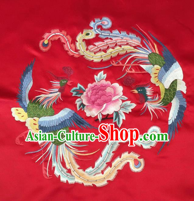 Asian Chinese Traditional Embroidered Phoenix Peony Red Silk Patches Handmade Embroidery Craft