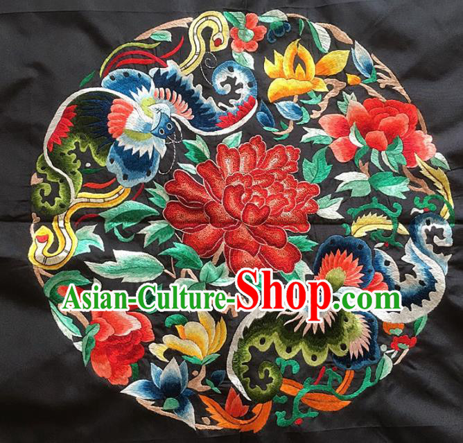 Asian Chinese Traditional Embroidered Peony Butterfly Black Silk Patches Handmade Embroidery Craft
