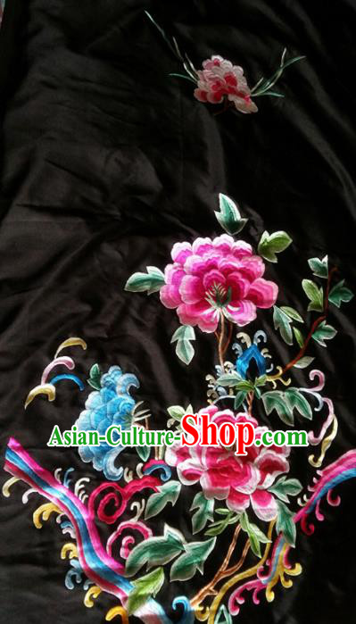 Chinese Traditional Embroidered Cloth Patches Handmade Embroidery Peony Craft Silk Fabric