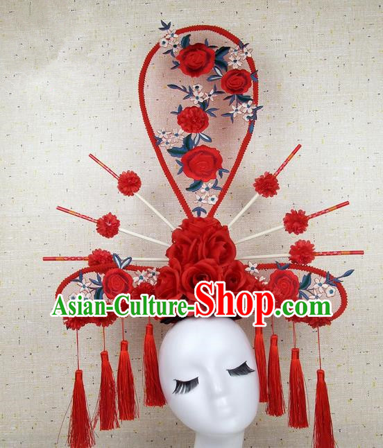 Asian Chinese Traditional Palace Hair Accessories Catwalks Red Peony Exaggerated Headdress for Women