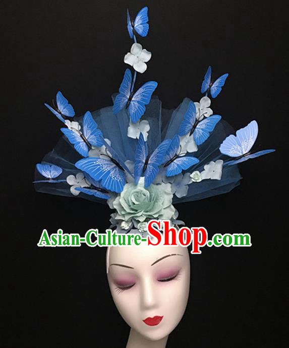 Top Halloween Catwalks Hair Accessories Stage Show Blue Butterfly Peony Headdress for Women
