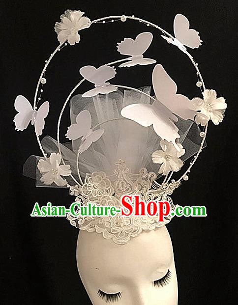Top Halloween White Butterfly Giant Hair Accessories Stage Show Chinese Traditional Palace Catwalks Headpiece for Women