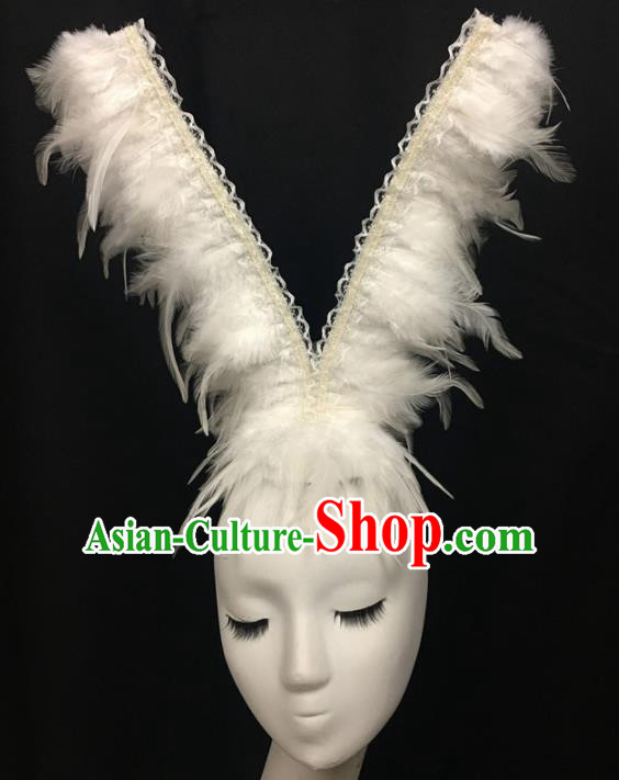 Top Halloween Catwalks Hair Accessories Stage Show White Feather Headdress for Women