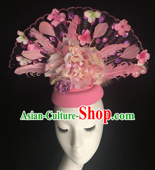 Top Halloween Hair Accessories Stage Show Chinese Traditional Catwalks Pink Top Hat Headpiece for Women