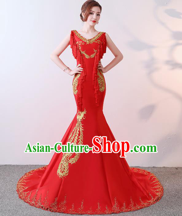 Chinese Traditional Costumes Elegant Red Trailing Full Dress Qipao Dress for Women