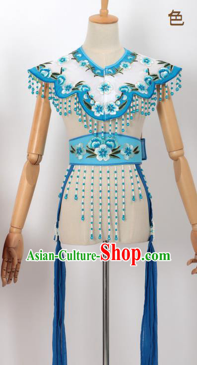 Chinese Traditional Beijing Opera Diva Accessories Lake Blue Shoulder Cape and Belt for Women