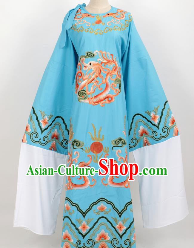 Professional Chinese Traditional Beijing Opera Niche Blue Ceremonial Robe Ancient Number One Scholar Costume for Men