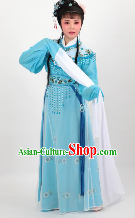 Chinese Traditional Professional Beijing Opera Diva Costumes Ancient Imperial Consort Blue Dress for Women