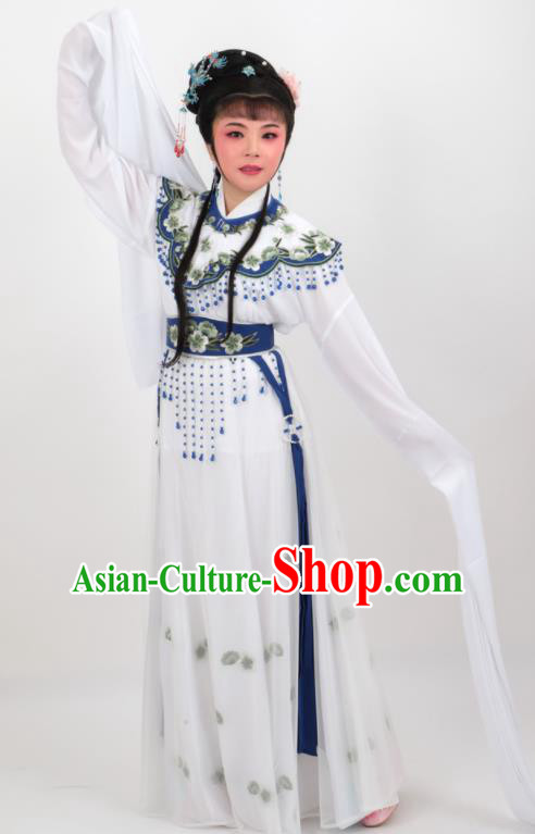 Chinese Traditional Professional Beijing Opera Diva Costumes Ancient Imperial Consort White Dress for Women