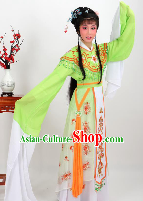 Professional Chinese Traditional Beijing Opera Diva Green Dress Ancient Imperial Consort Costumes for Women