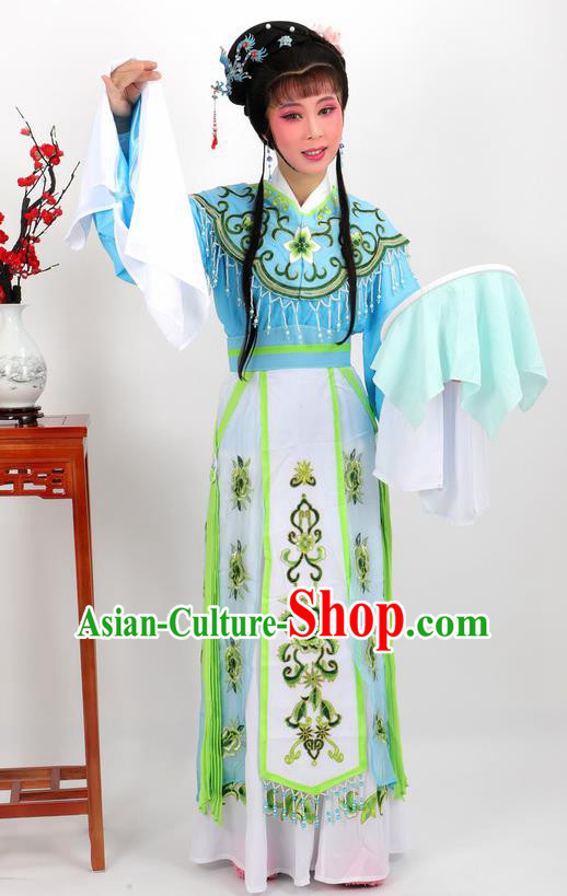 Professional Chinese Traditional Beijing Opera Diva Blue Dress Ancient Imperial Consort Costumes for Women