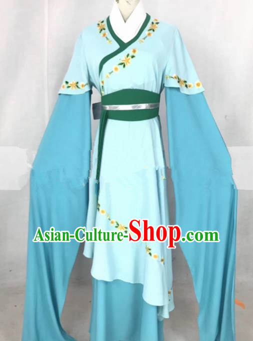 Professional Chinese Traditional Beijing Opera Actress Blue Dress Ancient Nobility Lady Costumes for Women