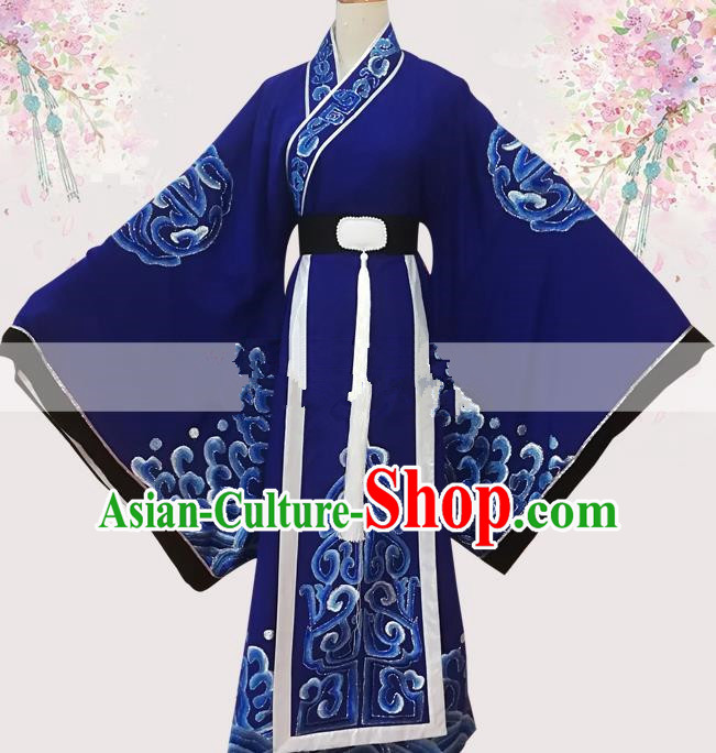 Professional Chinese Traditional Beijing Opera Officer Royalblue Ceremonial Robe Ancient Nobility Childe Costume for Men