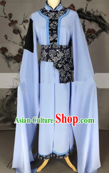 Professional Chinese Traditional Beijing Opera Blue Dress Ancient Country Lady Costume for Women
