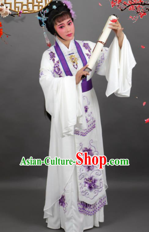 Professional Chinese Traditional Beijing Opera Embroidered White Dress Ancient Palace Princess Costume for Women