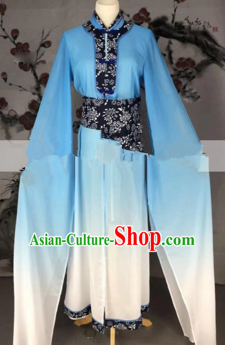 Professional Chinese Traditional Beijing Opera Lake Blue Dress Ancient Country Lady Costume for Women