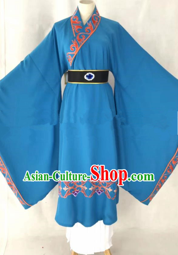 Professional Chinese Traditional Beijing Opera Blue Clothing Ancient Scholar Costume for Men