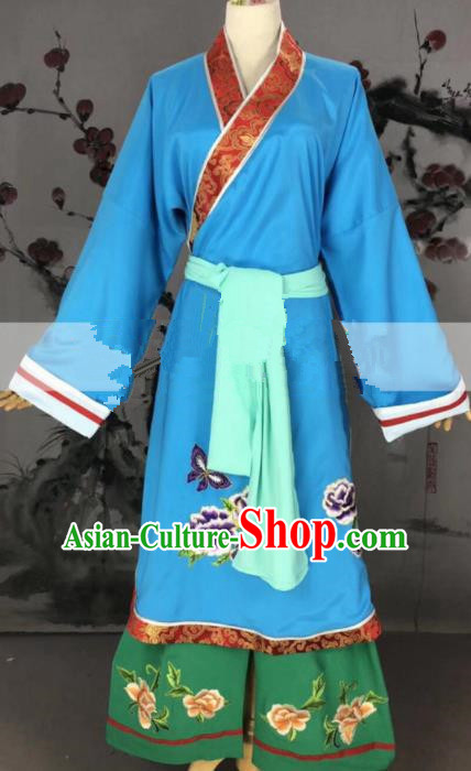 Professional Chinese Traditional Beijing Opera Blue Dress Ancient Old Dame Costume for Women