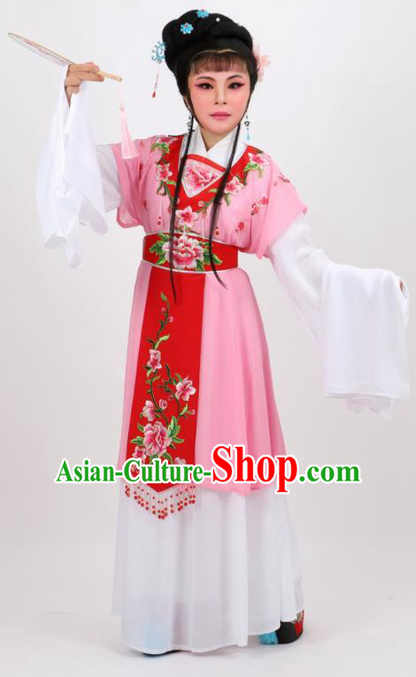 Chinese Traditional Peking Opera Diva Kou Zhu Pink Dress Ancient Court Maid Costume for Women