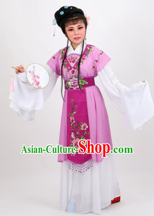 Chinese Traditional Peking Opera Diva Kou Zhu Purple Dress Ancient Court Maid Costume for Women