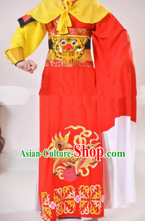 Professional Chinese Traditional Beijing Opera Takefu Red Clothing Ancient Swordsman Costume for Men
