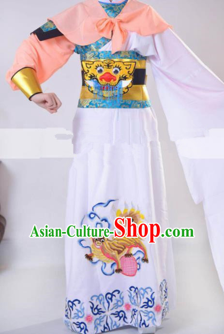 Professional Chinese Traditional Beijing Opera Takefu White Clothing Ancient Swordsman Costume for Men
