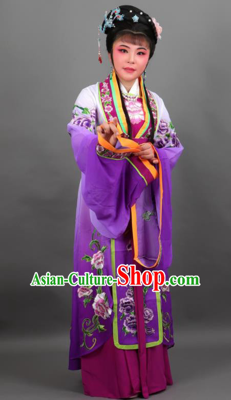 Chinese Traditional Peking Opera Diva Empress Purple Dress Ancient Court Queen Costume for Women