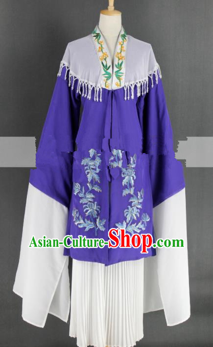 Chinese Traditional Peking Opera Diva Purple Dress Ancient Rich Lady Costume for Women