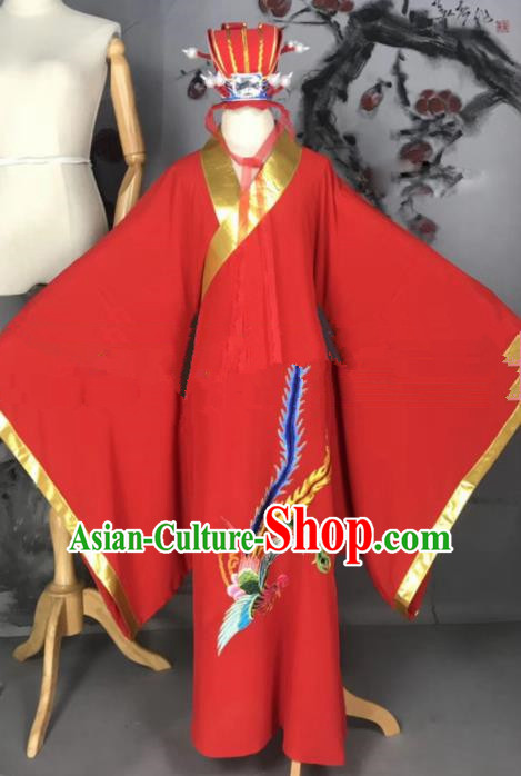 Professional Chinese Traditional Beijing Opera Niche Jiao Zhongqing Red Clothing Ancient Scholar Costume for Men