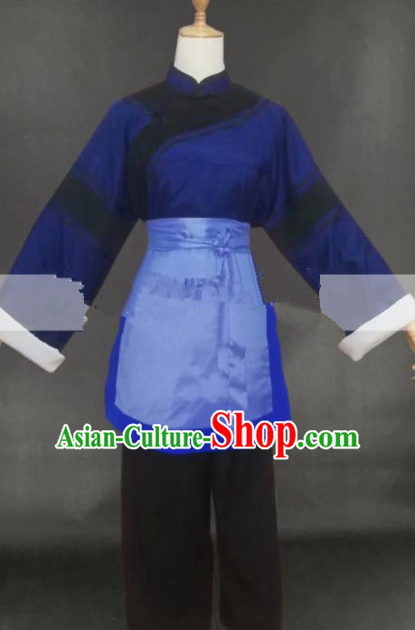 Professional Chinese Traditional Peking Opera Poor Female Dress Ancient Country Lady Costume for Women