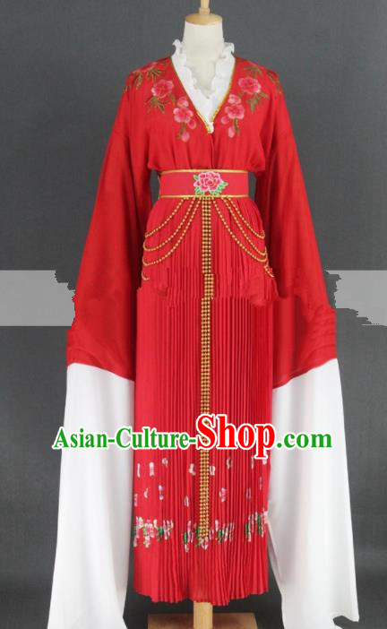 Professional Chinese Traditional Peking Opera Red Dress Ancient Palace Maid Costume for Women