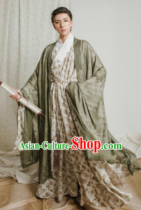 Asian Chinese Jin Dynasty Scholar Hanfu Clothing Traditional Ancient Swordsman Costumes for Men