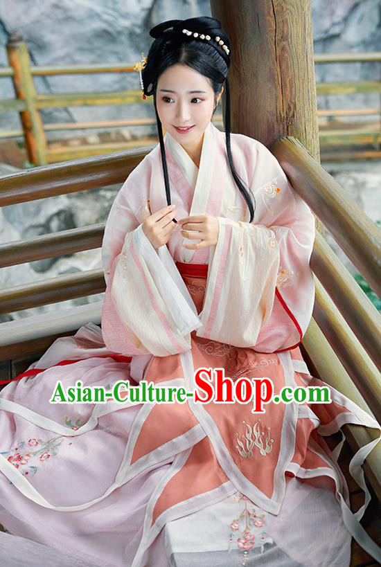 Asian Chinese Jin Dynasty Imperial Consort Hanfu Dress Traditional Ancient Myth Goddess Luo Costumes for Women