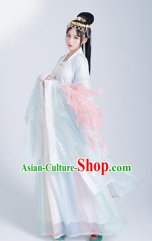 Asian Chinese Tang Dynasty Princess Hanfu Dress Traditional Ancient Goddess Court Lady Costumes for Women