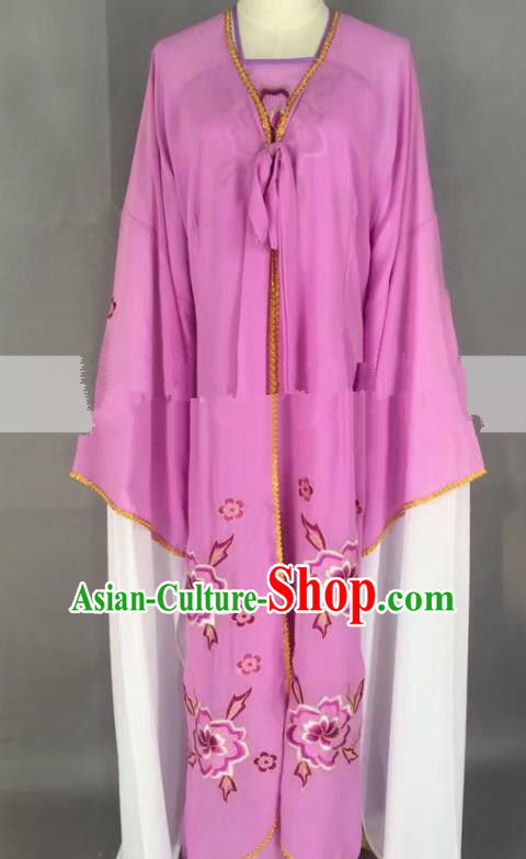 Chinese Traditional Peking Opera Actress Servant Girl Purple Dress Ancient Poor Lady Costume for Women