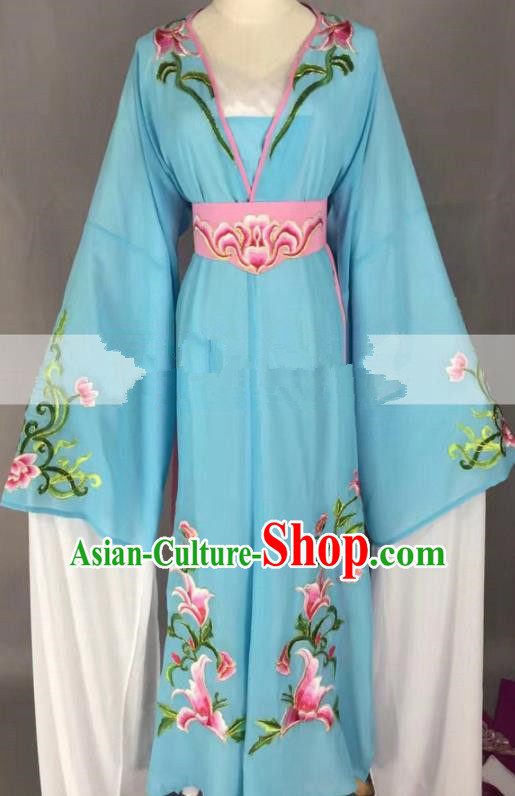 Chinese Traditional Peking Opera Actress Hua Tan Blue Dress Ancient Rich Lady Costume for Women