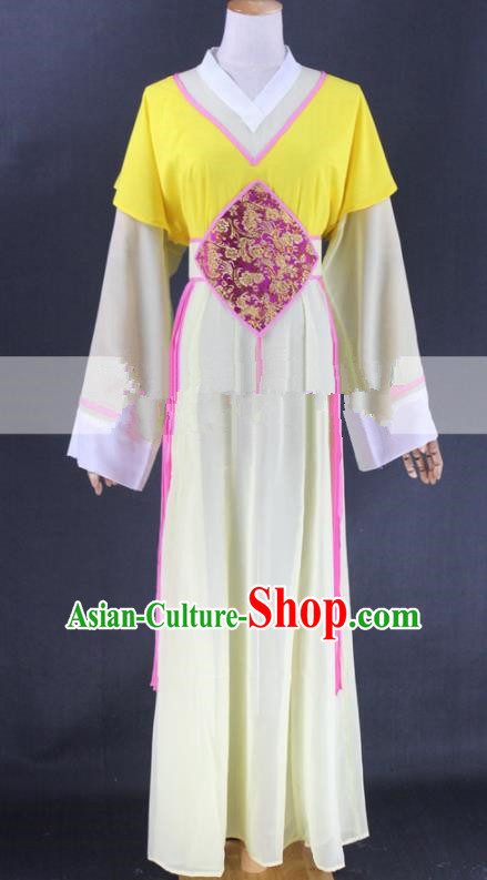 Chinese Traditional Peking Opera Actress Court Maid Yellow Dress Ancient Servant Girl Costume for Women