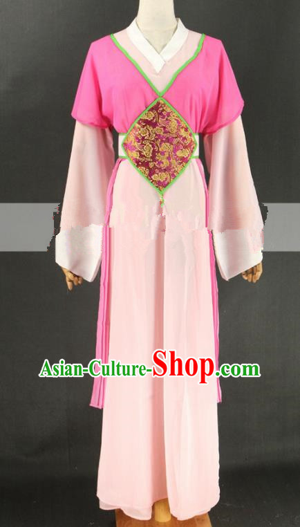 Chinese Traditional Peking Opera Actress Court Maid Rosy Dress Ancient Servant Girl Costume for Women