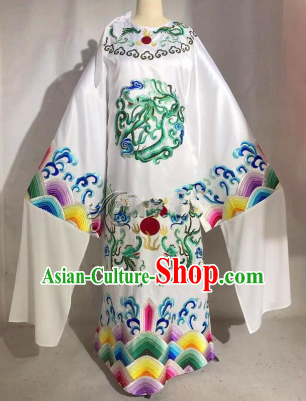 Professional Chinese Traditional Beijing Opera White Imperial Robe Ancient Emperor Costume for Men