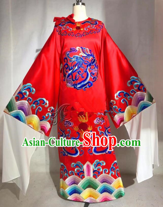 Professional Chinese Traditional Beijing Opera Red Imperial Robe Ancient Emperor Costume for Men