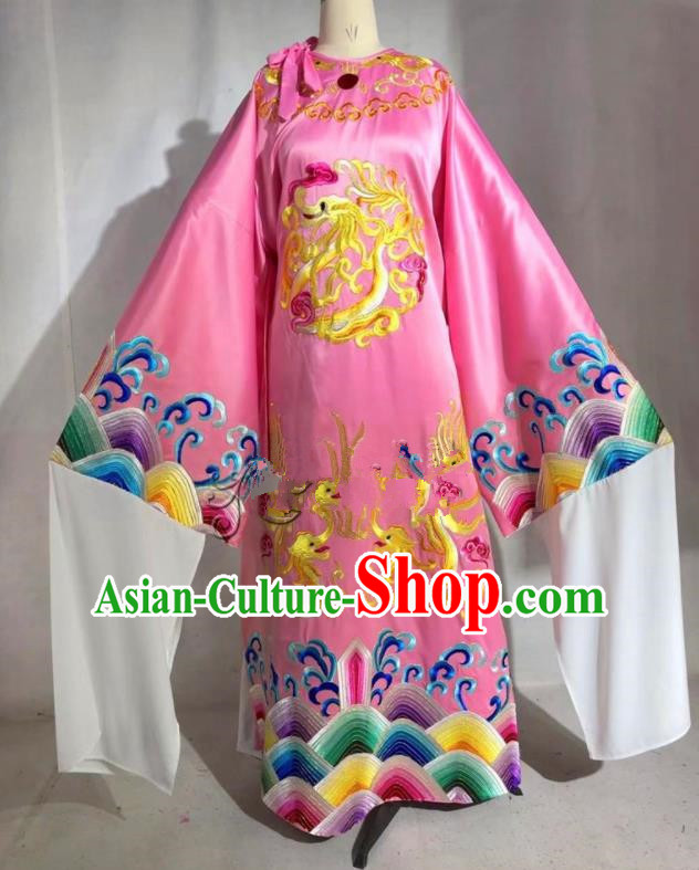 Professional Chinese Traditional Beijing Opera Pink Imperial Robe Ancient Emperor Costume for Men