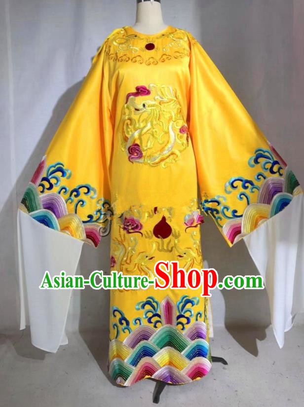 Professional Chinese Traditional Beijing Opera Yellow Imperial Robe Ancient Emperor Costume for Men