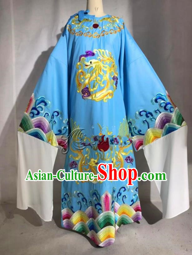 Professional Chinese Traditional Beijing Opera Blue Imperial Robe Ancient Emperor Costume for Men