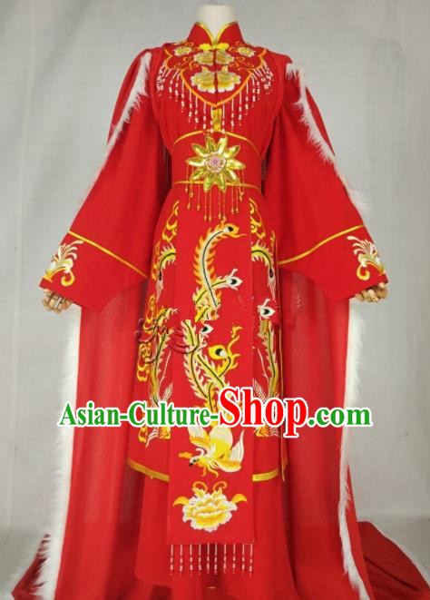 Chinese Traditional Peking Opera Diva Wang Zhaojun Red Dress Ancient Imperial Consort Costume for Women