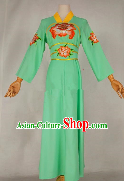 Chinese Traditional Peking Opera Young Lady Light Green Dress Ancient Servant Girl Costume for Women