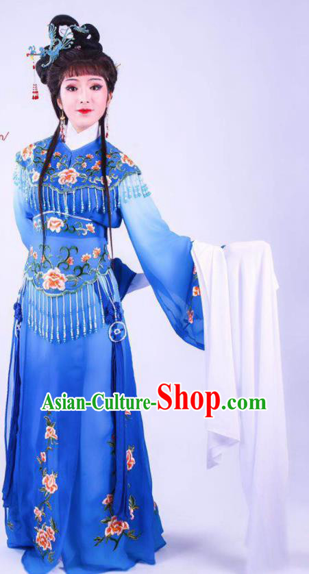 Chinese Traditional Peking Opera Actress Hua Tan Royalblue Dress Ancient Rich Lady Costume for Women