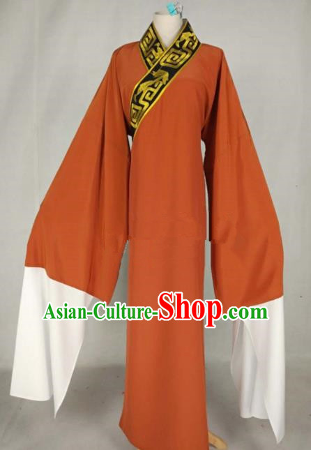 Chinese Traditional Beijing Opera Niche Orange Robe Ancient Scholar Costume for Men